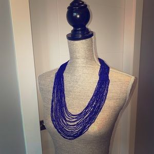 Cobalt Blur Beaded Necklace